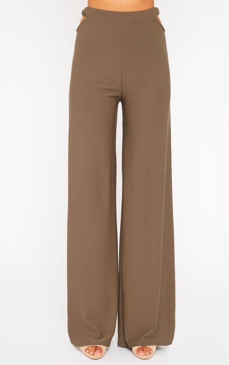 Elphina Khaki Cut Out Palazzo Trousers 2