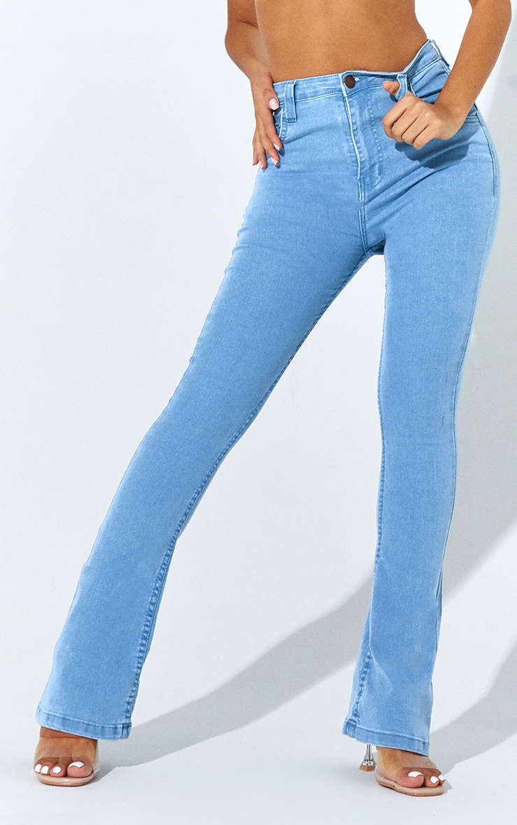 Petite Light Wash Stretch Denim Flare Jeans 2