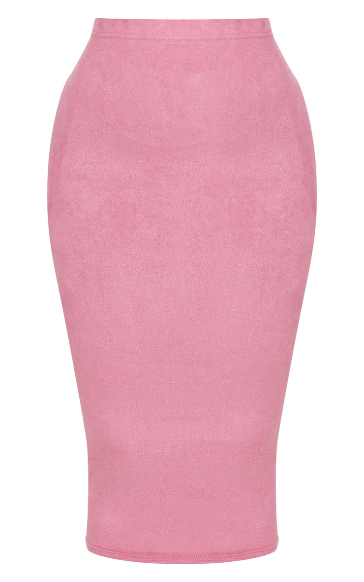 Shape Rose Faux Suede Midi Skirt 3
