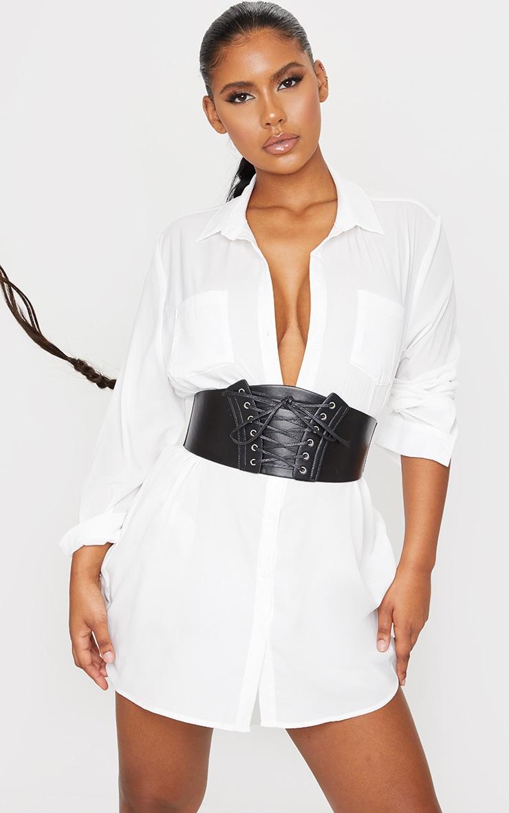 Black Pu Corset Belt 1