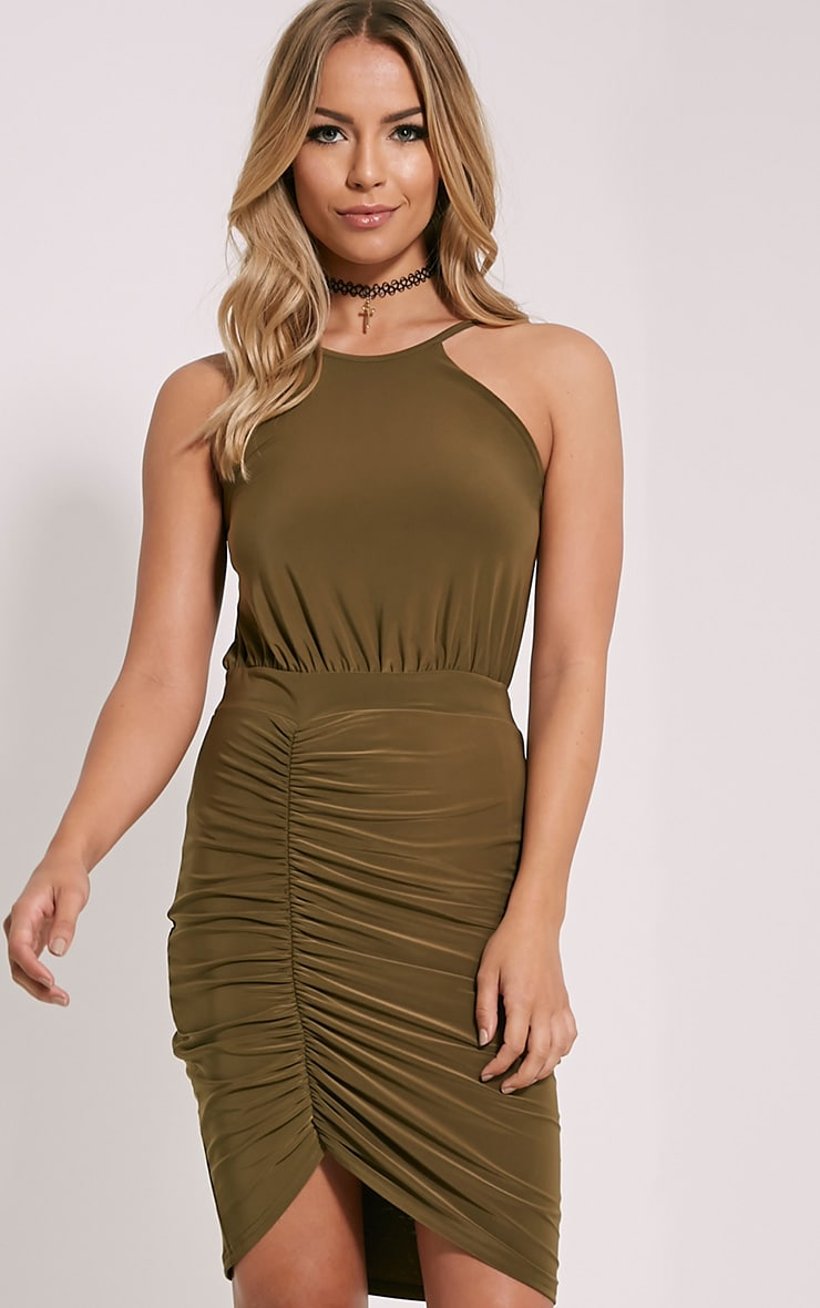 Selina Khaki Open Back Dress 1