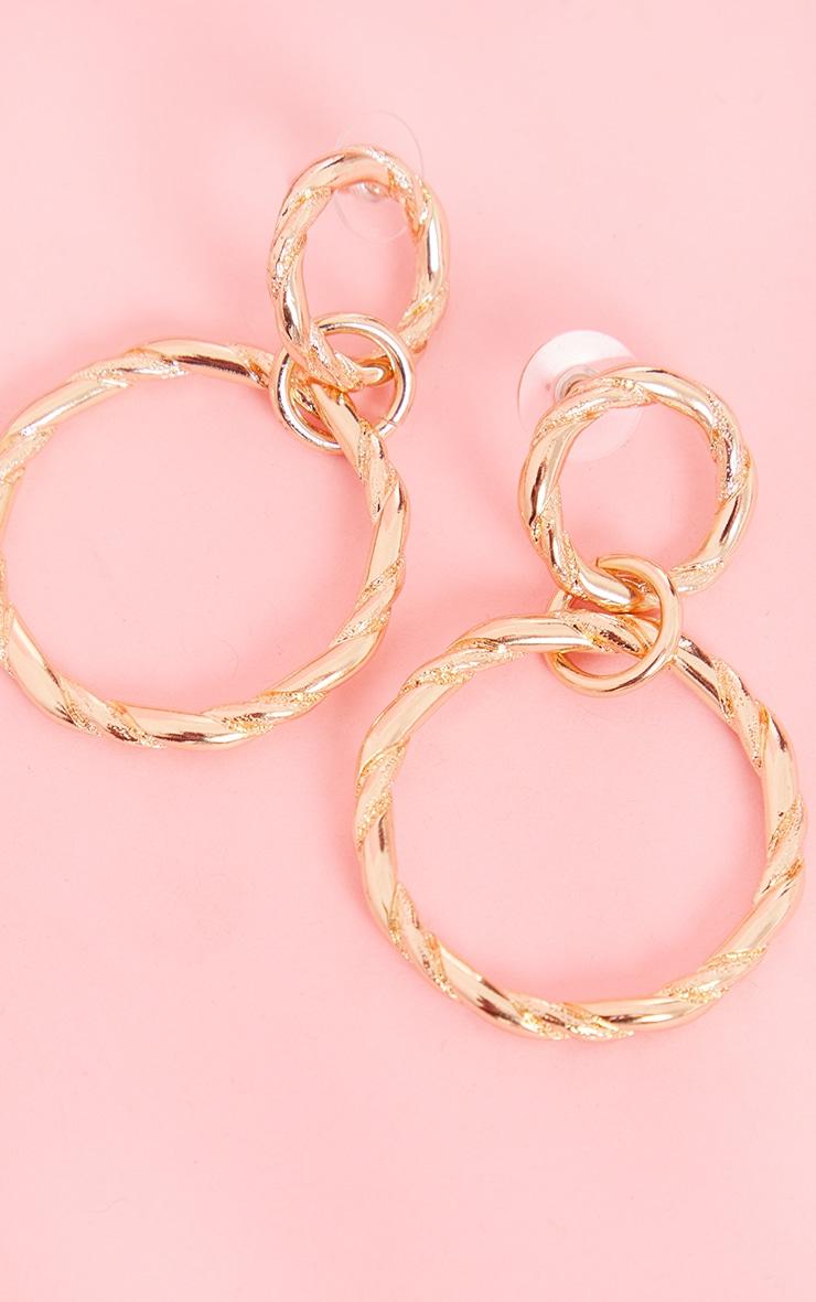Gold Double Twist Hoop Earrings 3