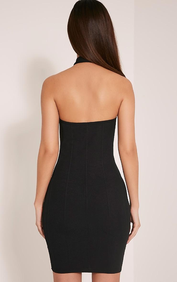 Chessie Black Halterneck Bandage Bodycon Dress 2