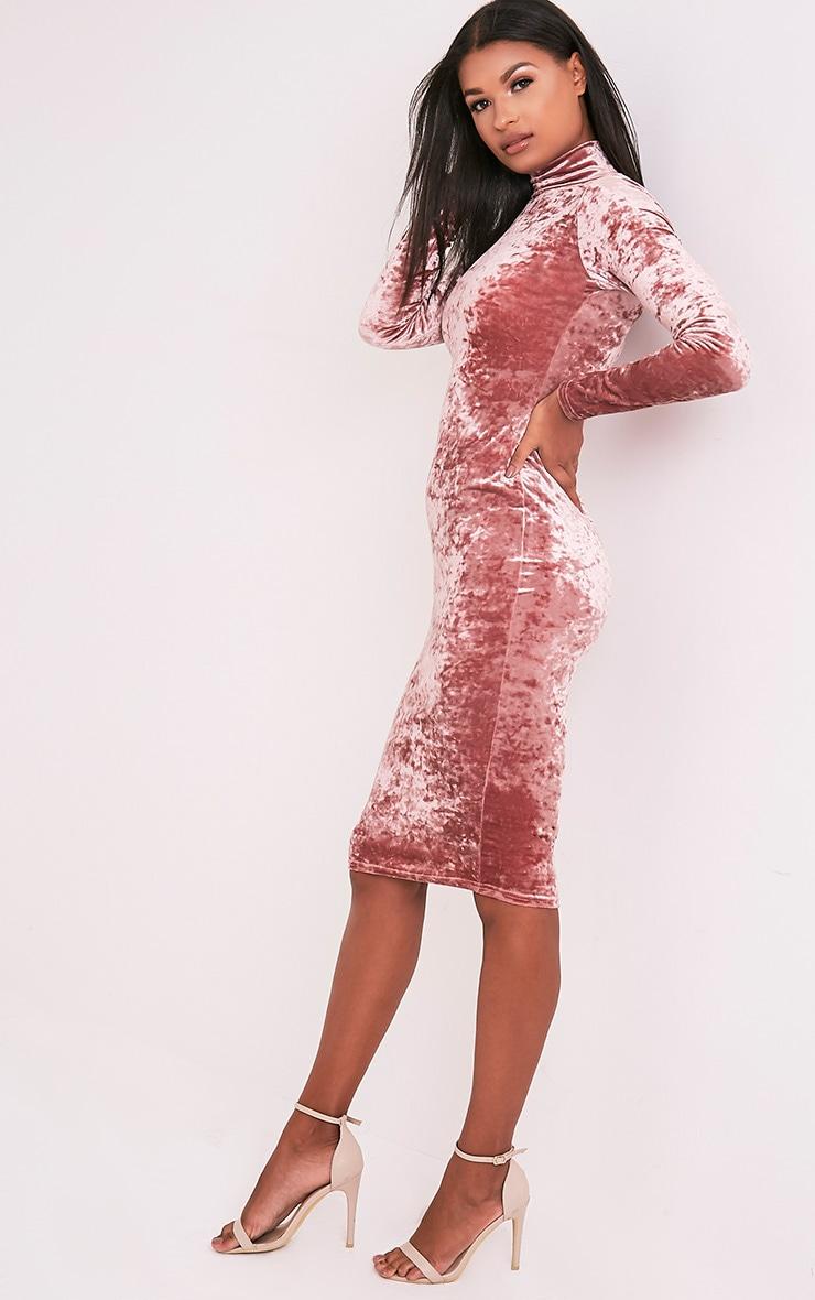 Amlia Rose Velvet High Neck Midi Dress 4