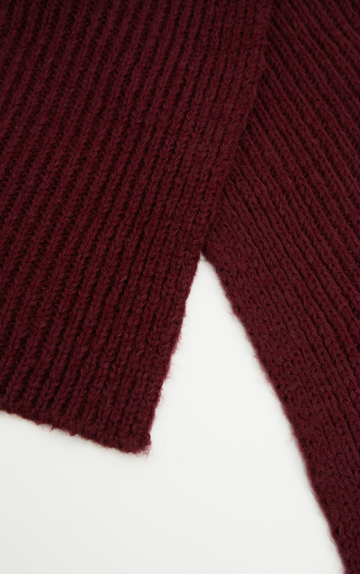 Burgundy Ribbed Knit Scarf 3