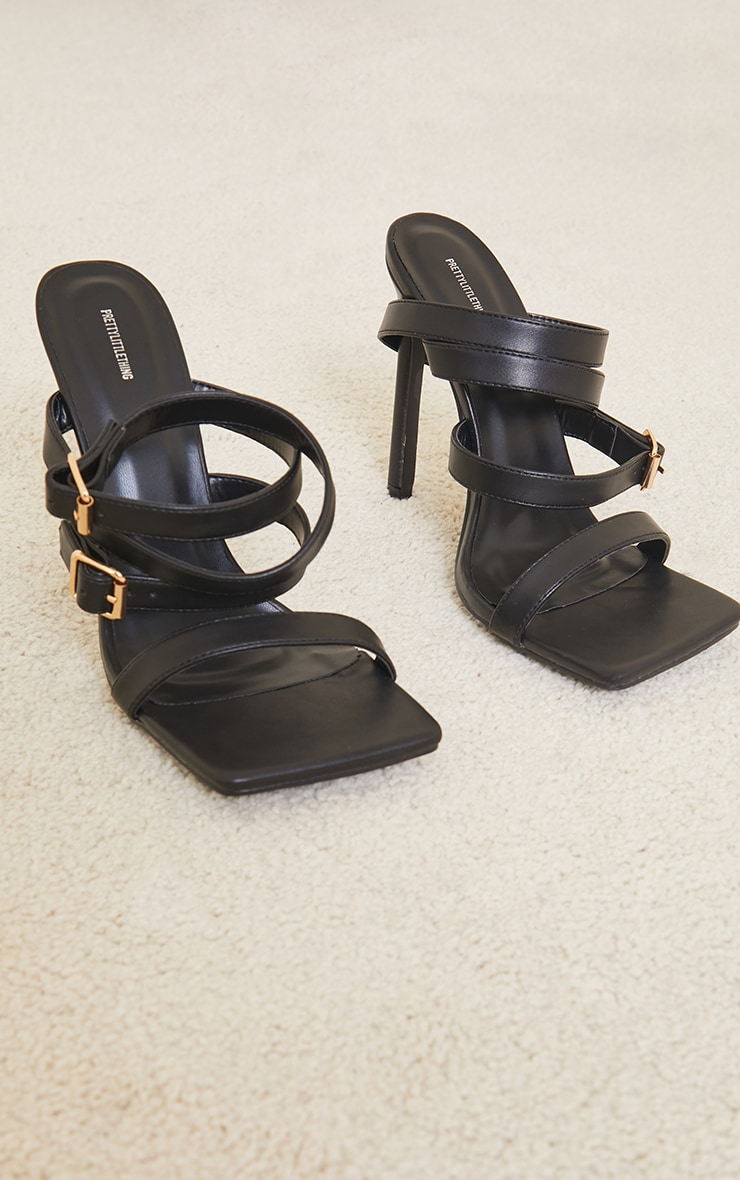 Black PU Square Toe Double Strap Buckle Detail High Heels 3