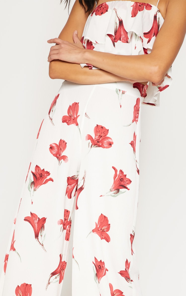 White Floral Printed Wide Leg Trouser 5