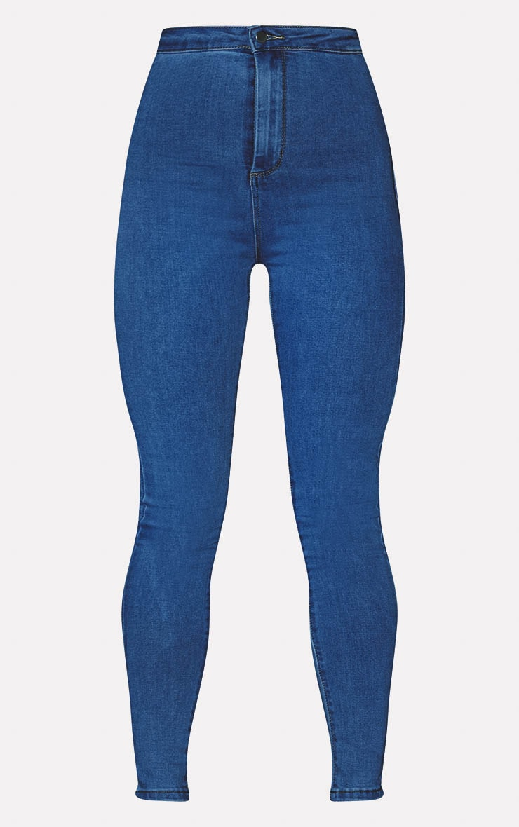 PRETTYLITTLETHING Mid Blue Disco Skinny Jean 3
