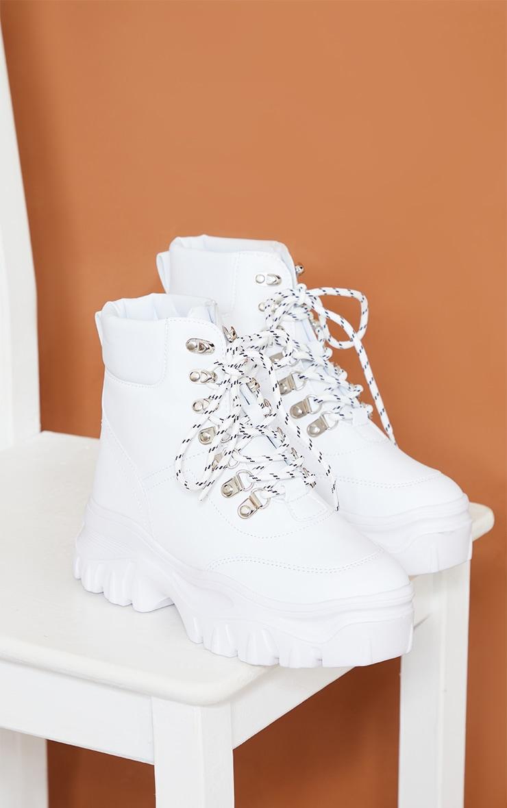 White Flatform Chunky Hiker Boot Sneakers 3