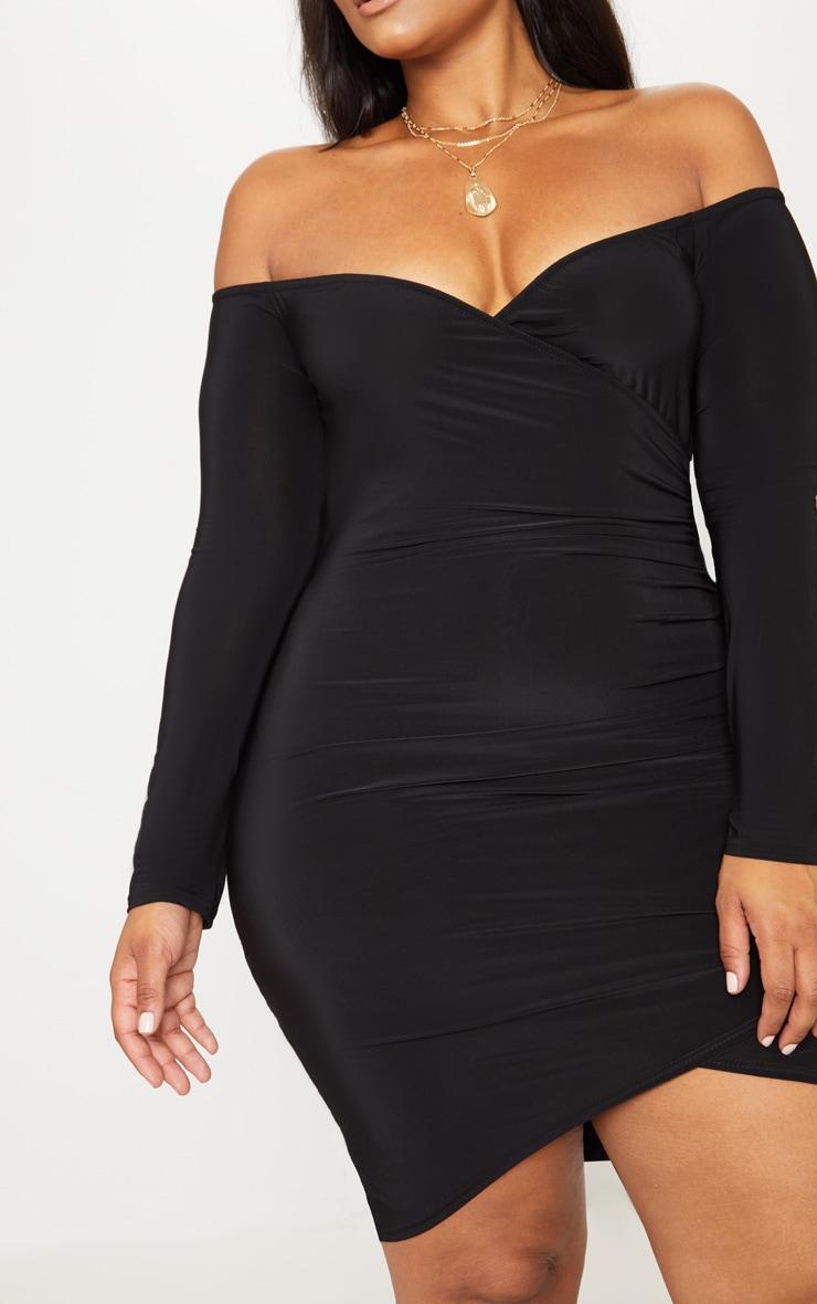 Plus Black Slinky Ruched Detail Bardot Bodycon Dress 5