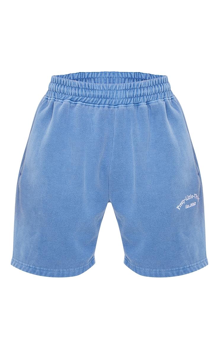 PRETTYLITTLETHING Steel Blue Washed Sweat Shorts 6