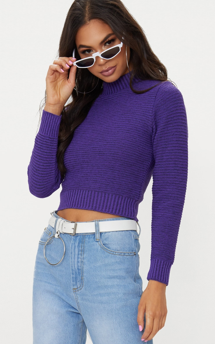 Purple Ribbed Cropped Knitted Jumper 1