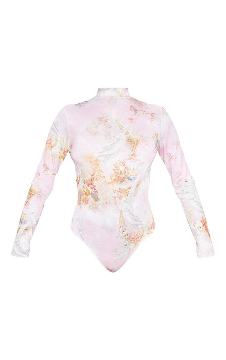 Baby Pink Renaissance Printed High Neck Long Sleeve Bodysuit 3