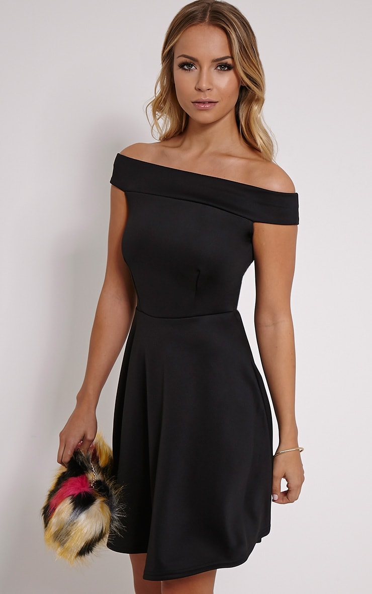 Mona Black Bardot Skater Dress 4