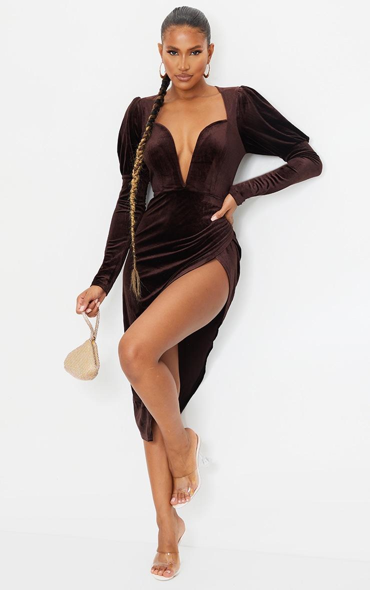 Chocolate Velvet V Bar Puff Sleeve Midi Dress 1
