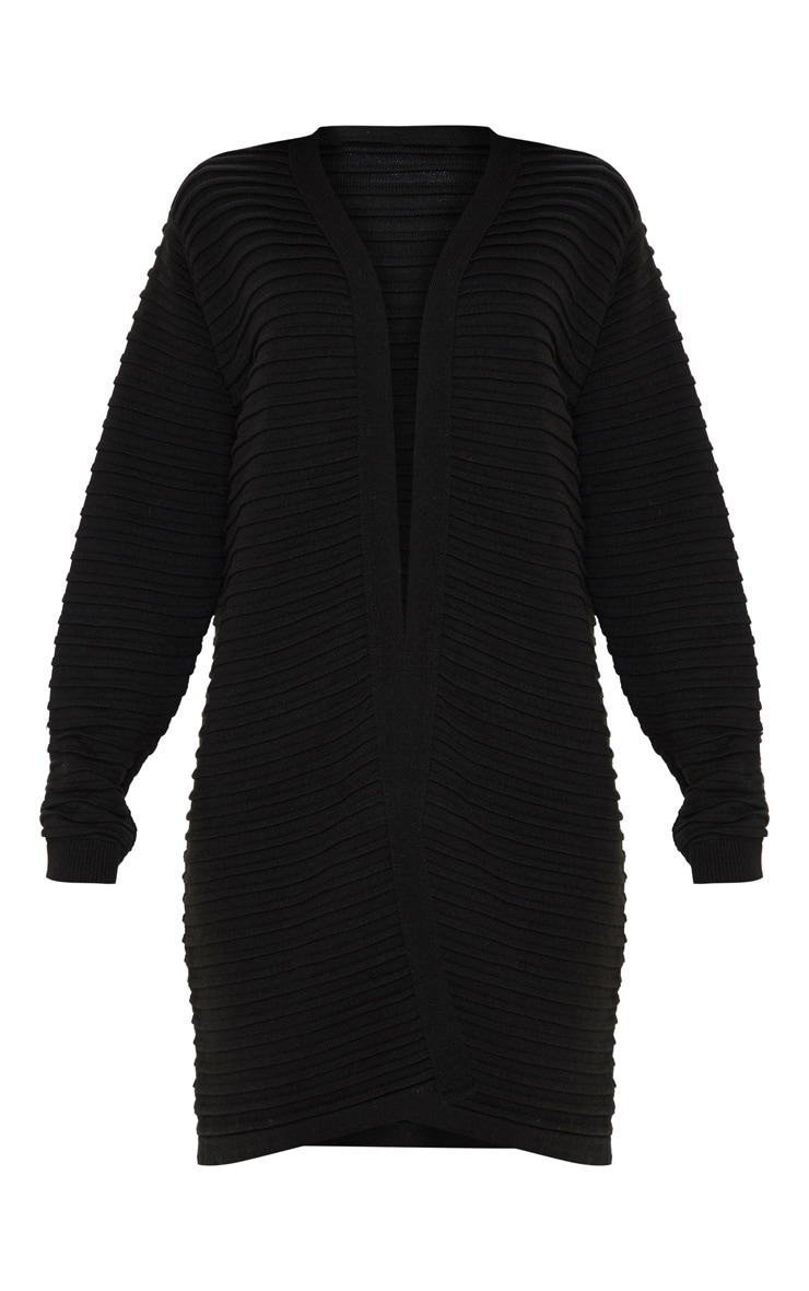 Black Chunky Ribbed Knitted  Cardigan  3