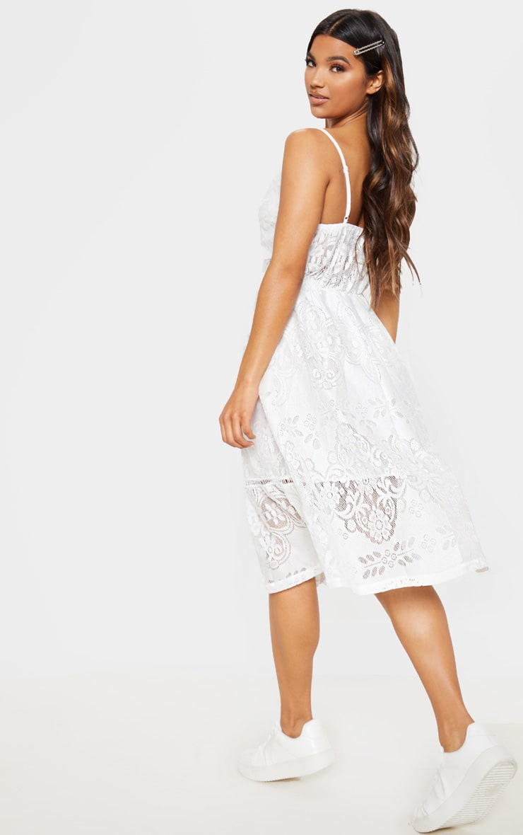 White Lace Button Through Midi Dress 2