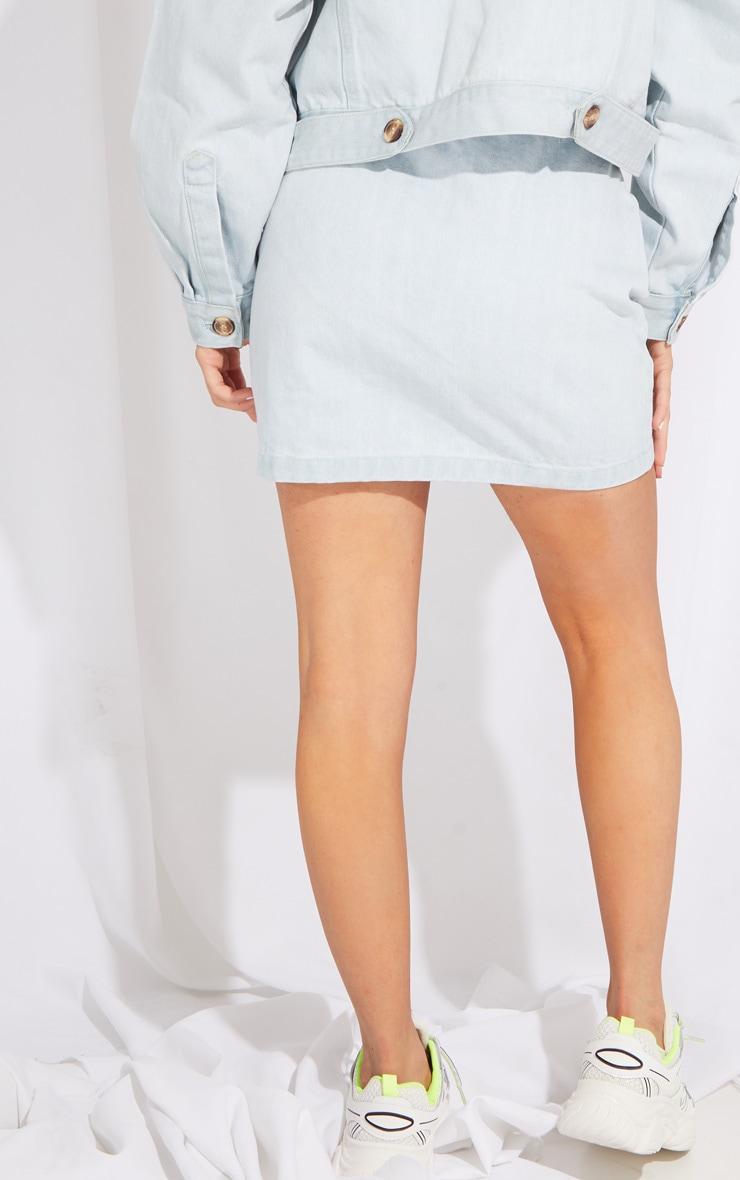 Petite Bleach Wash Button Front Denim Mini Skirt 3