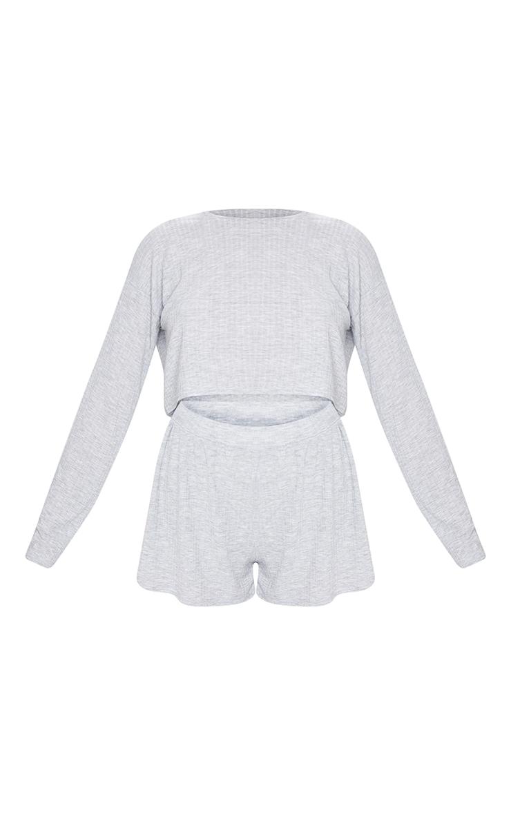 Grey Soft Rib Drop Shoulder Top And Skater Shorts Pj Set 5
