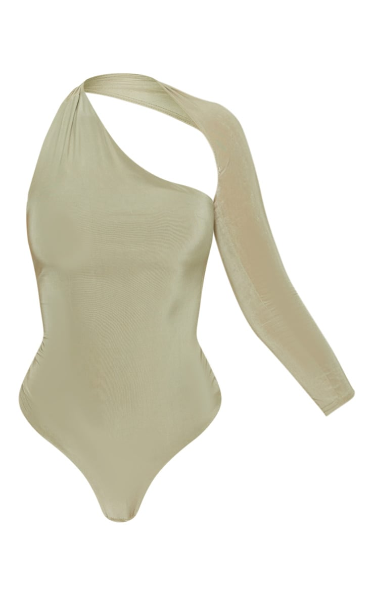 Sage One Shoulder Asymmetric Bodysuit 3