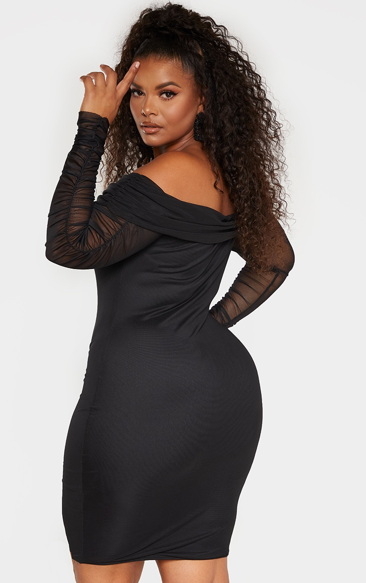 Plus Black Ruched Bardot Mesh Midi Dress 2
