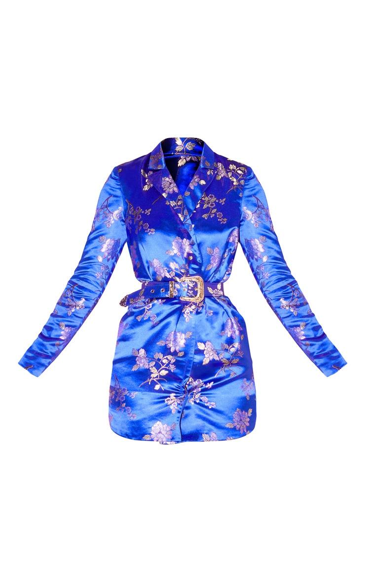 Cobalt Floral Jacquard Long Sleeve Belt Detail Blazer Dress 3