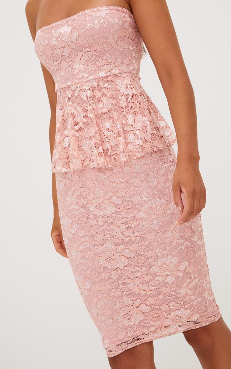 Dusty Pink Lace Frill Bandeau Midi Dress 4