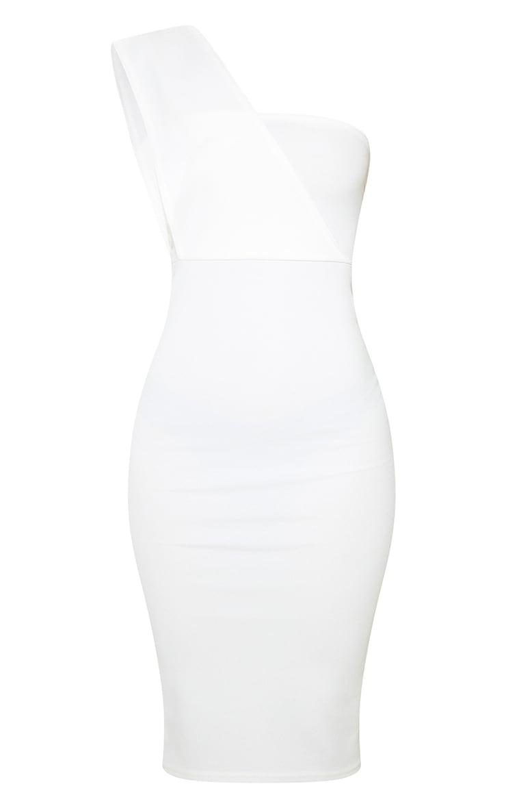 Petite Cream One Shoulder Draped Midi Dress  3