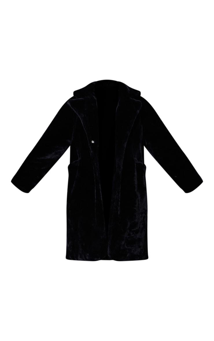 Black Faux Fur Pocket Front Midi Coat 5