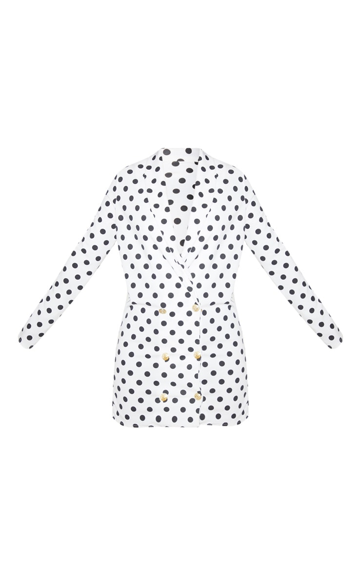 Petite White Polkadot Button Blazer Dress 3