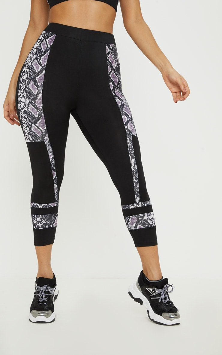 Black Snake Stripe Panel 3/4 Gym Legging 2
