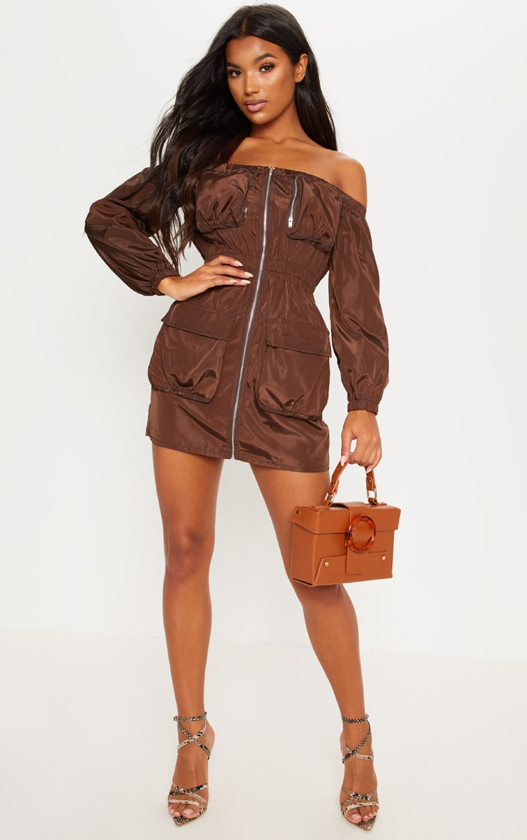 Chocolate Shell Pocket Front Zip Front Bardot Shift Dress