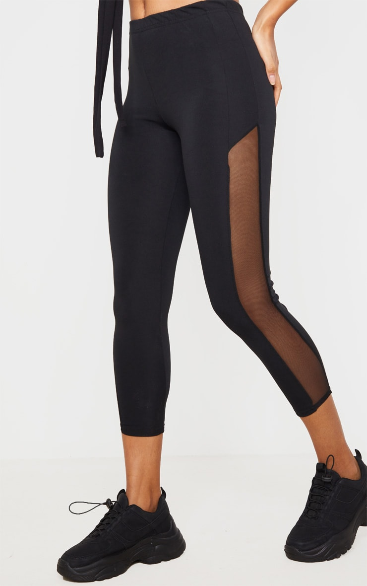 Black Mesh Panel Cropped Gym Leggings 3