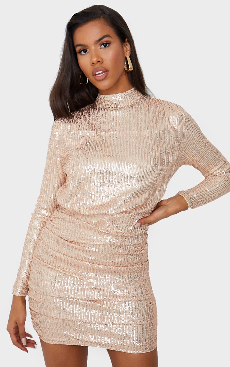 Rose Gold Sequin High Neck Open Back Gathered Skirt Bodycon Dress 3