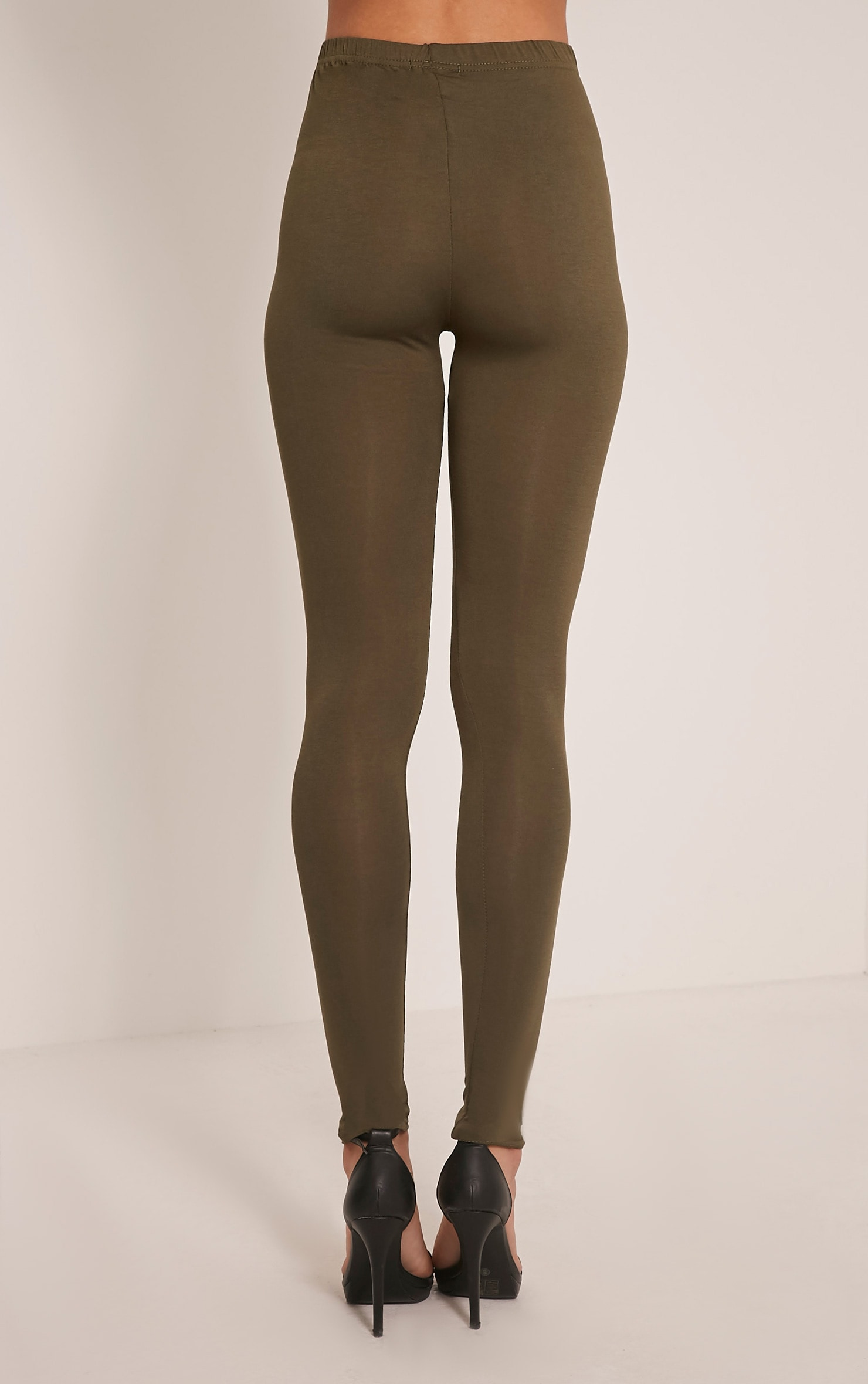 Basic Khaki Jersey Leggings 5
