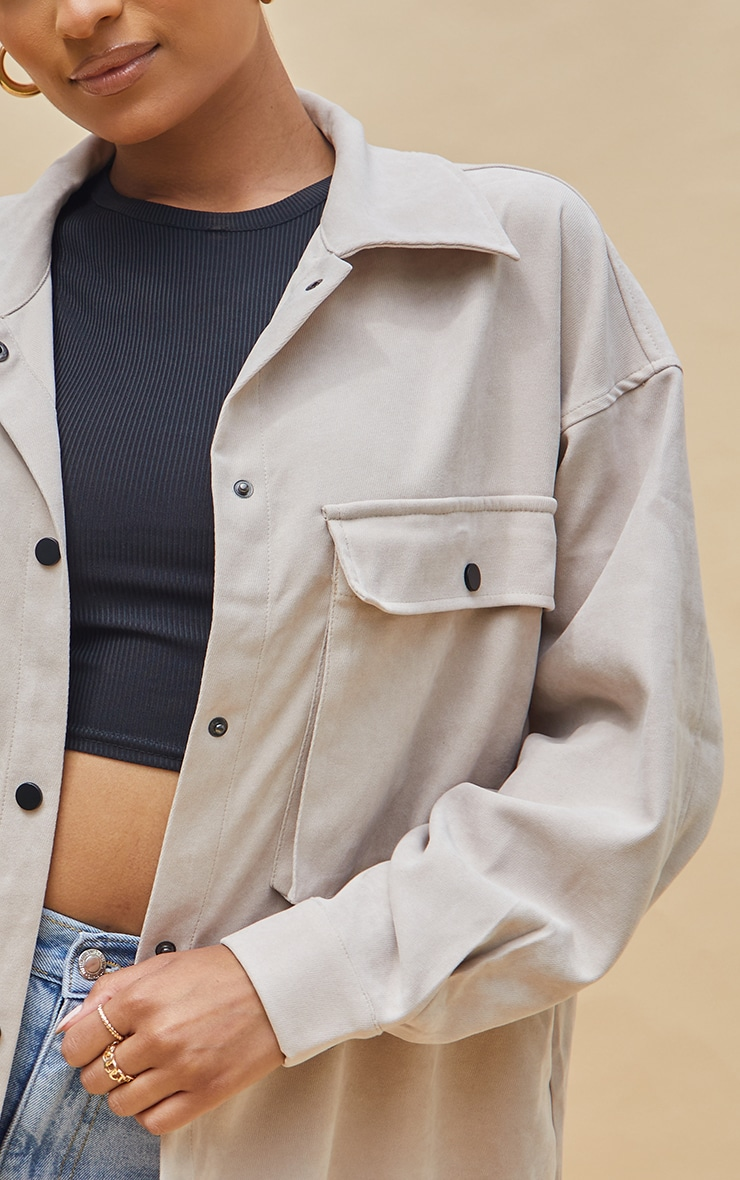 Stone Twill Pocket Detail Oversized Boxy Shirt 4