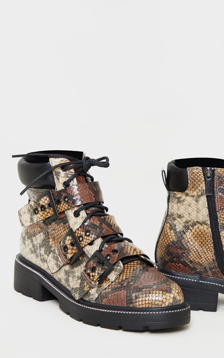 Snake Chain Sole Cleated Buckle Detail Lace Up Ankle Boot 4