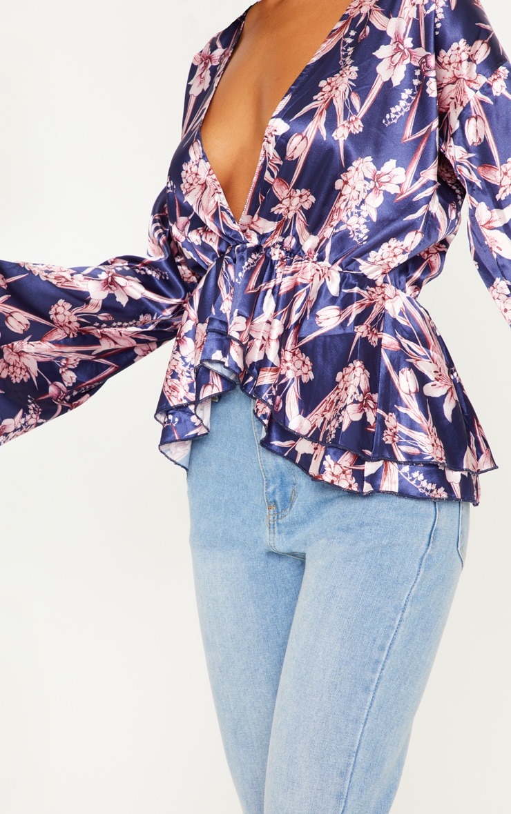 Navy Floral Flare Sleeve Top 5