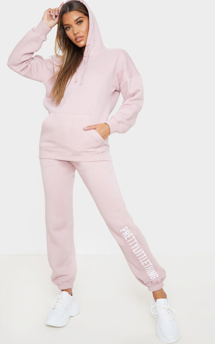 PRETTYLITTLETHING Pale Pink Slogan Joggers 1