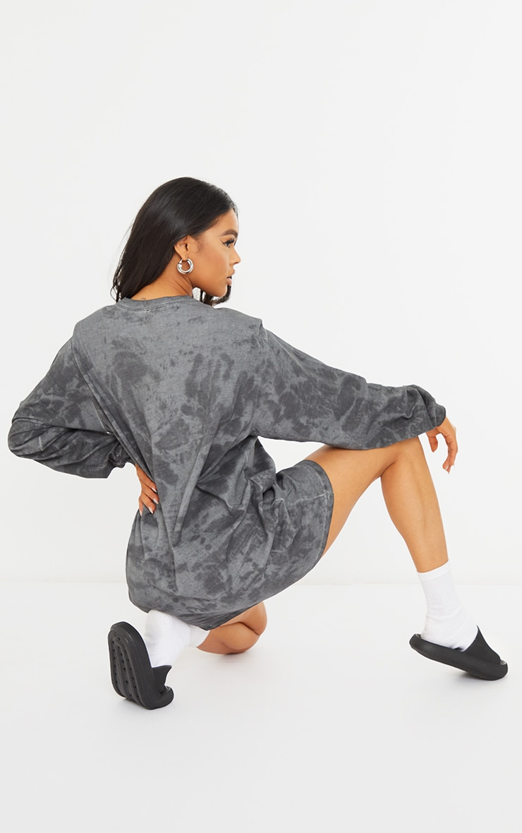 Black Acid Wash Shoulder Pad T-shirt Dress 2