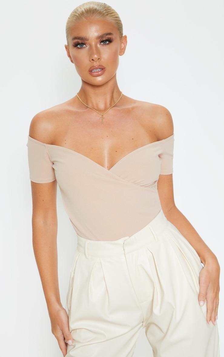 Taupe Crepe Bardot Wrap Bodysuit 1
