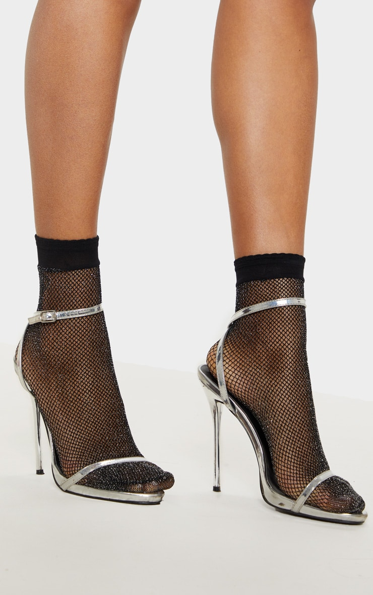 Black Textured Glitter Fishnet Ankle Socks 2