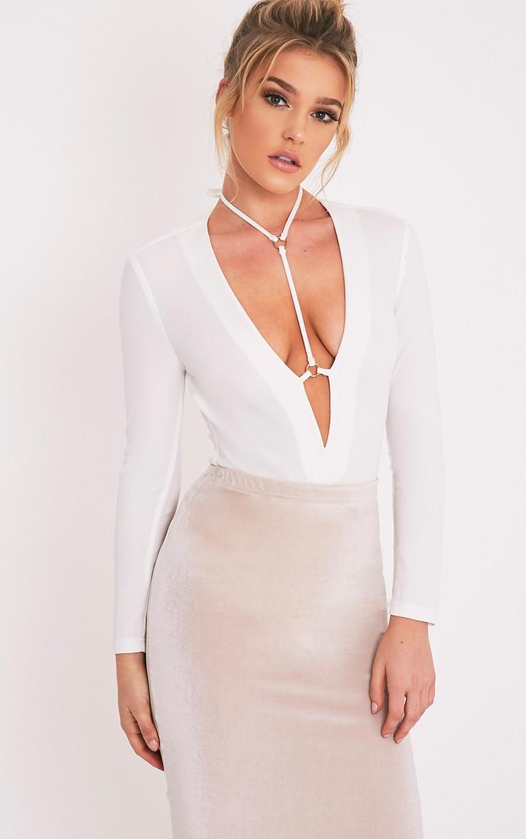 Livvie body-string harnais crème à manches longues 1