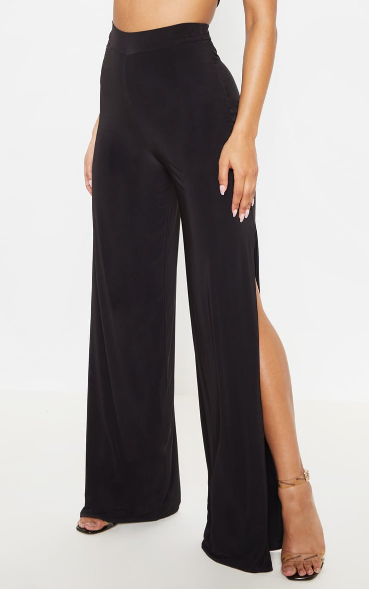 Darsee Black Side Split Slinky Trousers 2