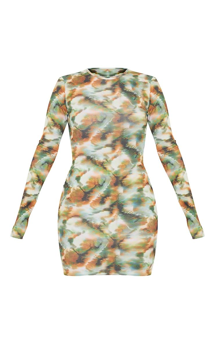 Khaki Tie Dye Print Ribbed Long Sleeve Bodycon Dress 5