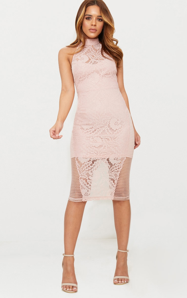 Petite Dusty Pink Lace Panel Detail Midi Dress 1