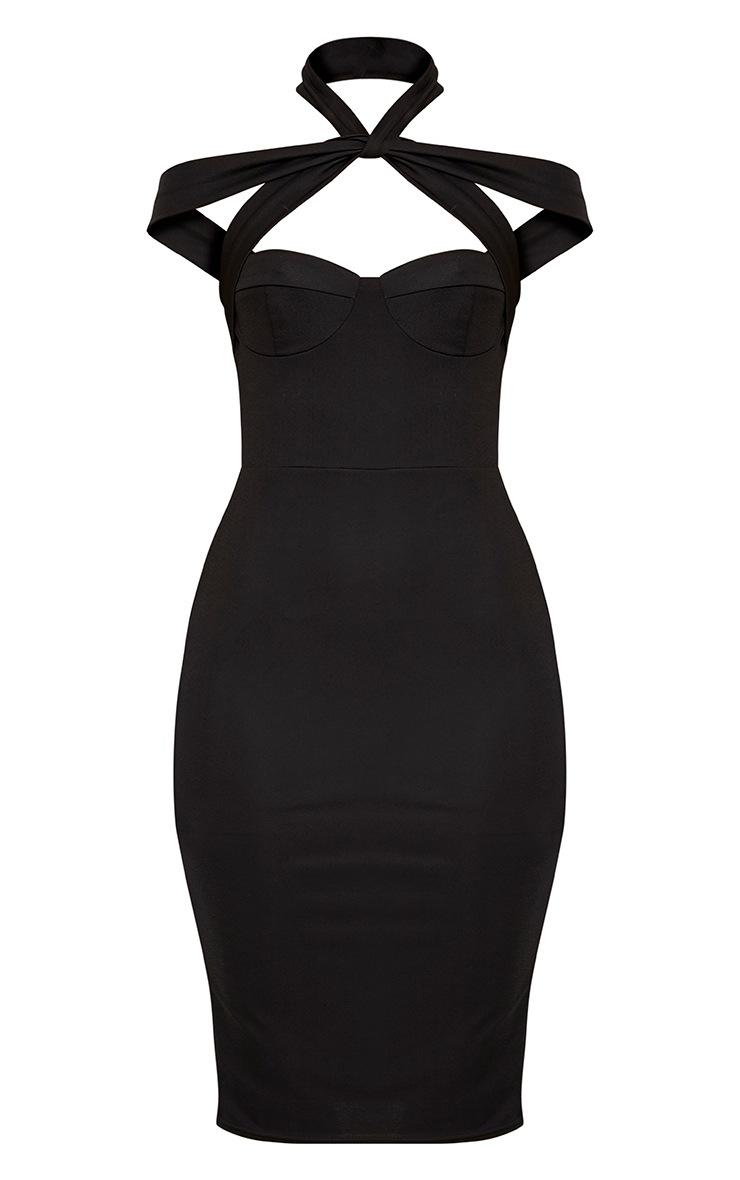 Pandara Black Strappy Top Detail Midi Dress 3