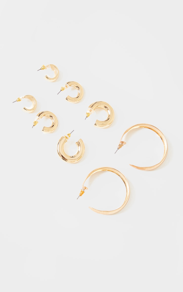 Gold Assorted 3 Chunky Huggy Hoop Pack 1