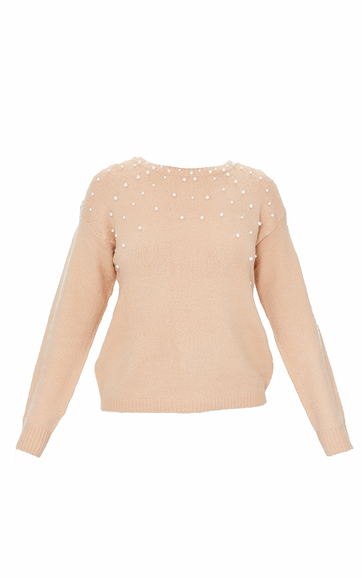 Oatmeal Pearl Detail Crew Neck Sweater 5