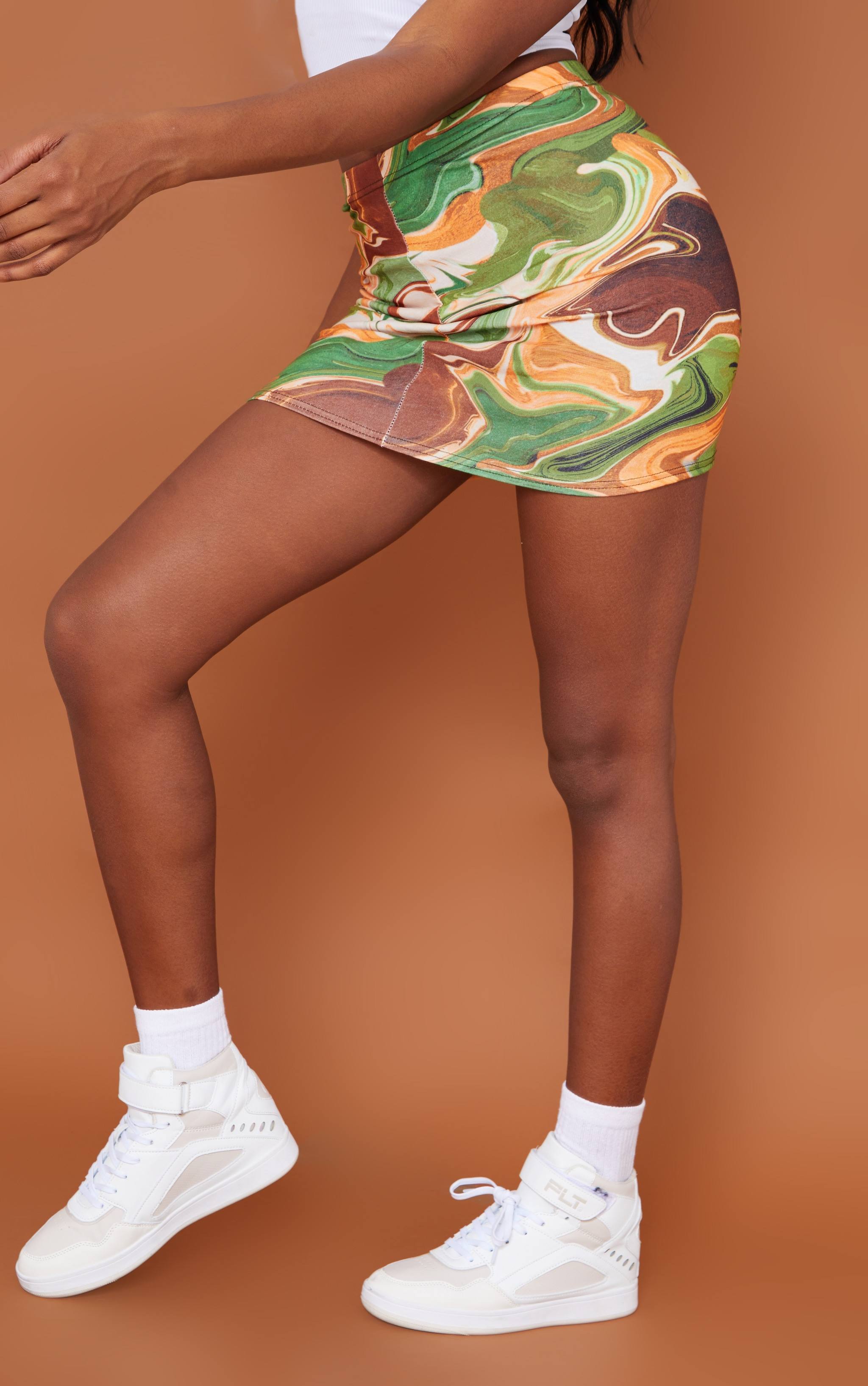 RECYCLED Multi Marble Swirl Print Mini Skirt 3